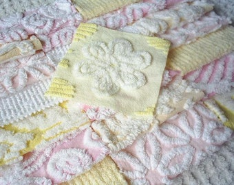 Vintage Chenille Bedspread Squares -Pretty Pink and Yellow with Daisy-21-6""