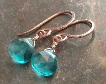 Sky blue quartz wire wrapped briolette drop earrings - 14k rose gold filled handmade gemstone jewelry