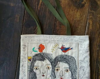 The whimsical fun tote art in stiches