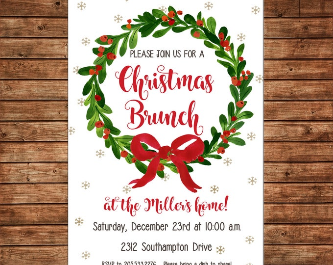 Christmas Invitation Watercolor Wreath Brunch Shower Party - Can personalize colors /wording - Printable File or Printed Cards