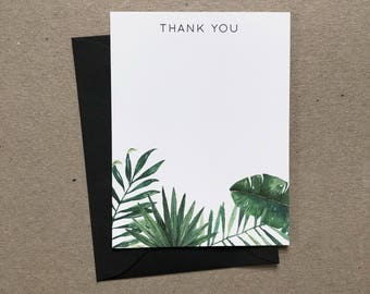 Tropical foliage thank you cards