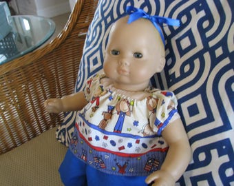 Bitty Baby 4th of July 2 Piece Set, Pants and Top, 15 Inch Doll Clothes