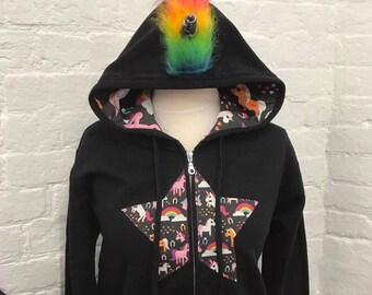 Ladies Rainbow Unicorn Zip Up Hoodie Jacket, Alternative, Punk, Rock, Black
