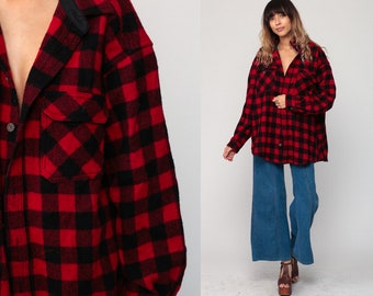 Woolrich Shirt Plaid Shirt Wool 80s Flannel Button Up Buffalo Plaid Red Black Long Sleeve Checkered 1980s Grunge Extra Large xl 2xl xxl