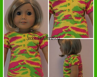 Yellow/Lime/Hot Pink T-Shirt with Ribbon Trim and Buttons Fits 18 inch Doll