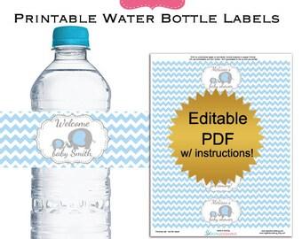 DIY editable printable water bottle labels PDF (No.35b) gray elephant boy baby shower favors Digital File