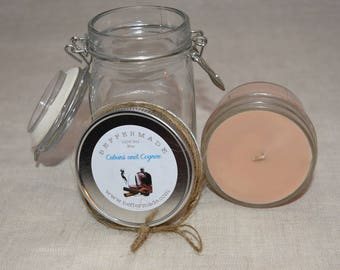 Cubans and Cognac scent 4 oz candle, all natural soy candle, soy container candle, mason jar candle, candle for men, masculine scent