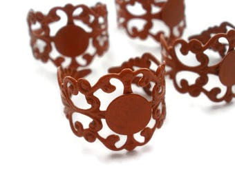 Brass Filigree Adjustable Ring Blanks Burnt Orange  (4)