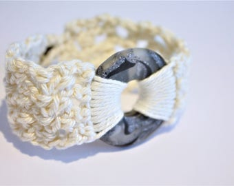 Black and White Polymer Clay Crochet Bracelet