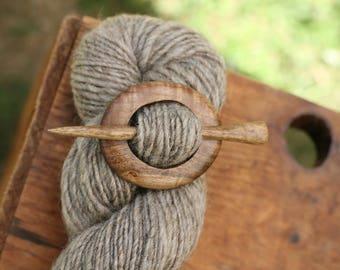 Myrtlewood Shawl Pin - Handmade Wooden Shawl Pin -Wood Shawl Pin- Eco Knitting Supplies