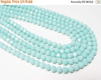 """20% OFF 7"""" Glass STRAND - Glass Crystal Beads - 6mm faceted rounds - Opaque Baby Blue (7"""" strand - 34 beads) - str1116"""