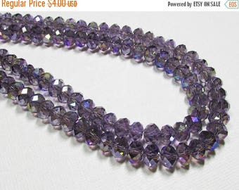 """20% OFF 7.5"""" Glass STRAND - Glass Crystal Beads - 6x8mm Rondelles - Lavender Purple AB (7.5 inch strand - 35 beads) - str225"""