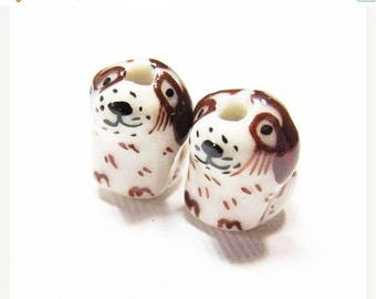 20% OFF LOOSE Porcelain Beads - Brown and White Dogs (2 beads) - Por064