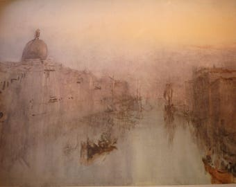 Grand Canal Venice, After Sunset by J M W Turner, English water color 1949 - print for art lovers Italian scene  framable 11 by 14 in