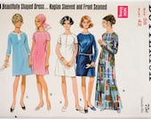 Vintage 1960s Womens Size 38 Mod A-line Dress Butterick 5192 Sewing Pattern FACTORY Folds, Knee or Evening Length Raglan Sleeved b42 w34