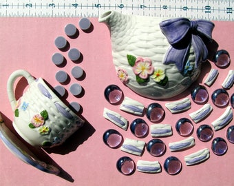 Half Teapot and Teacup Shabby Chic Basket weave embossed Flower Mosaic Tiles