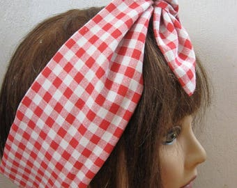 Womans Hair scarf,  Head scarf for women, Red Gingham Hair Band Bow, Hair Bandana, Women Rockabilly, Retro style,  Boho head wrap  #116