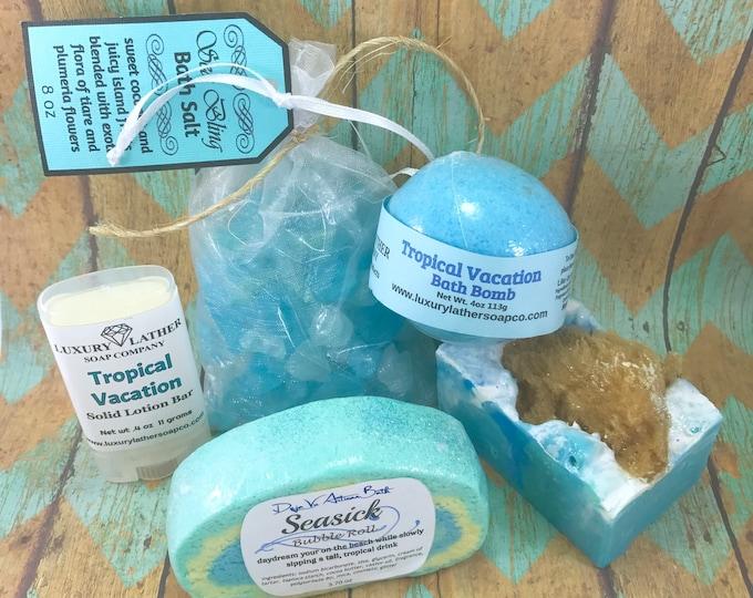 SAND & SEA Indie Bath Box, Sea Sponge Soap, Sea Bling Salt, Bubble Roll, Lotion Bar, Bath Bomb