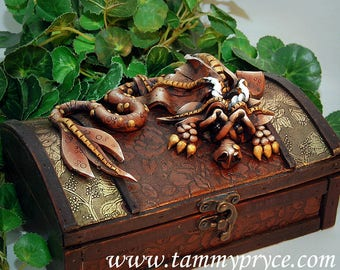 Ooak Polymer Clay Brown Sad Little Dragon Sculpture on Ornate Old World Style Chest #826 Fantasy Home Decor Storage