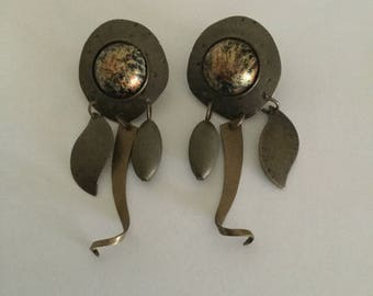 Vintage Modernist Brass & Cabochon Dangling Earrings