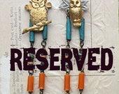 SOLD earrings owl mismatch assemblage CUSTOM