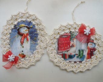 Set of 2 Snowman Christmas Ornaments / Gift Tags / Embellishments