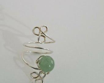 Toe Ring, Adventurine Healing Bead, Sterling Silver