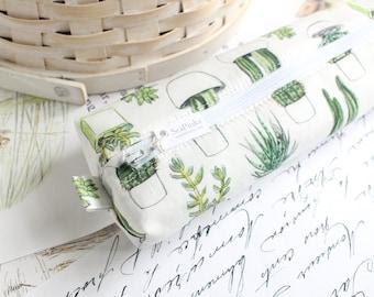 Pencil Case Succulents Cactus Boxy Pouch Cute Green and White Pencil Pouch Zipper Pouch