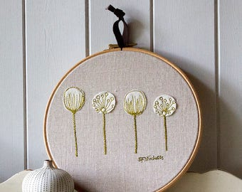 Hoop Art Embroidery Seed Heads Picture Green and Black