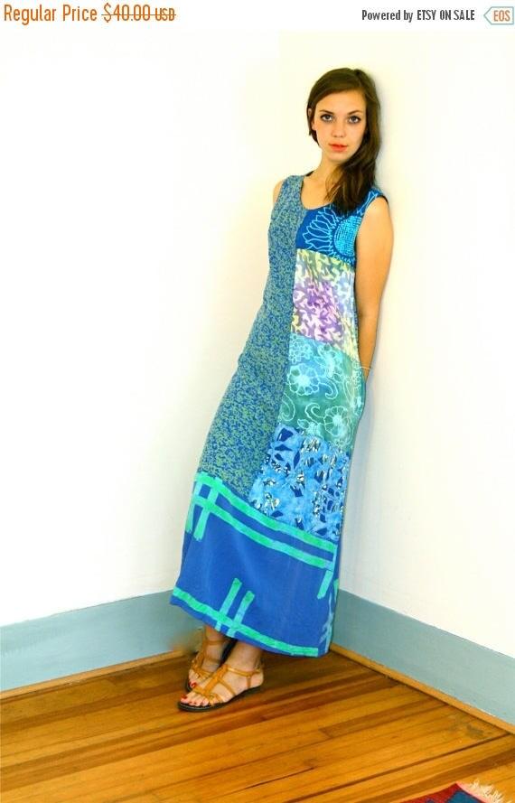 SALE 50% OFF Vintage 90s Tropical Beach Dress Aqua Blue Batik Patchwork Sunflower Pattern Kaftan Sack Dress Loungewear 1990s Straight Column