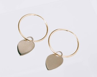 Heartbreaker Gold fill heart charm hoops