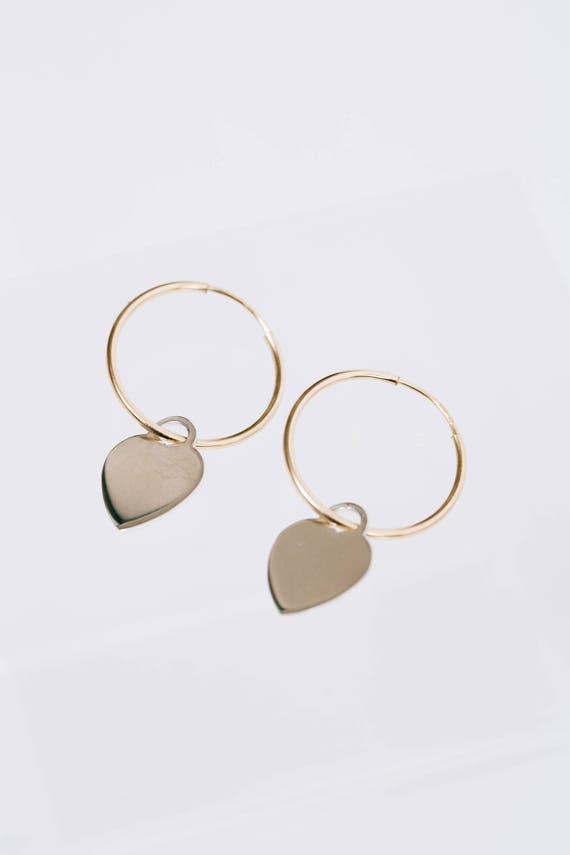 Heartbreaker Gold fill heart charm hoops