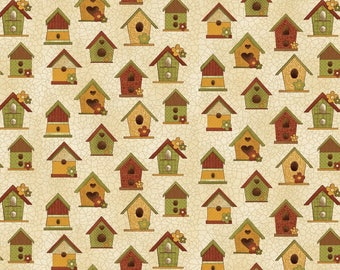"""NEW Chicks on the Run Craft 100% Cotton Quilt Fabric 44"""" wide X ONE Yard -Tan Bird Houses"""
