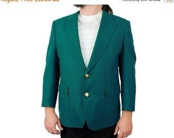 ON SALE Vintage Blazer 40S 80s Wool Blend Teal Blue Green Jacket Sports Coat Gold Button Golden Bear Free Us Shipping