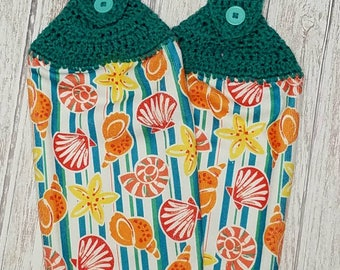 Crochet Kitchen Towels Hanging Dish Towels SeaShells Tea Towels Nautical Kitchen Towels Jade Teal Green Hand Towels Housewarming gift