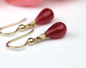 Teardrop Ruby Earrings | Deep Red Ruby Smooth Drops | 14k Gold Filled Dangles | Small Earrings | July Birthstone | Gift | Ready to Ship