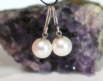 14k White Gold Pearl Earrings | 8mm Freshwater White Pearls | Classic Pearl Earrings | Everyday | Birthday | Holiday Gift | Ready to Ship