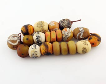 Lampwork Glass Beads Set, SRA Matte Etched Rustic Organic Orange  Brown Beige Gold