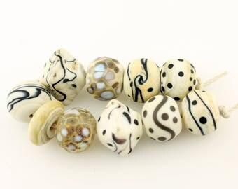 Lampwork Beads Set  Organic, Etched Matte Ivory, Silver  'Summer Neutrals'