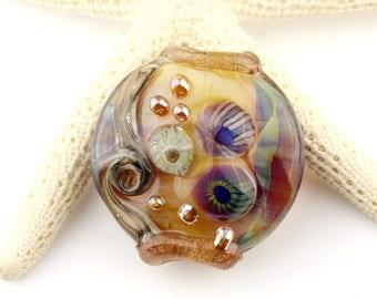 Lampwork Bead Glass Lentil Focal Blue, Green, Iridescent Purple and Gold