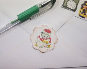 Jingle Kitty Envelope Seals or Stickers set of 20 1.5 inch scallop circle - SES377