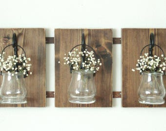 Rustic Farmhouse Wall Decor..Set of 3 Hanging Pots on Stained Wood. Large Wall Decor..Curly Black Hooks..Garden Flower Pots..