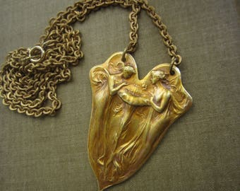 French Brass Art Nouveau Fairies And Flower Necklace