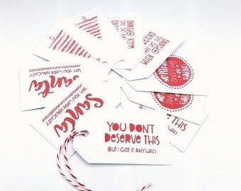 Funny Christmas Gift Tags/Holiday Humor/Christmas Packaging/Gift Tags/Holiday Gift Tags/Christmas Tag Set/Snarky Christmas/Bah Humbug Tags