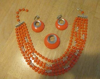 Vintage costume jewelry  /  3 piece orange necklace earrings and brooch