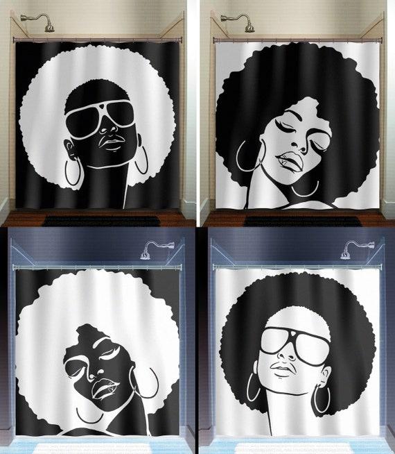 Black Girl Magic Afro Shower Curtain African Woman Bathroom-2547