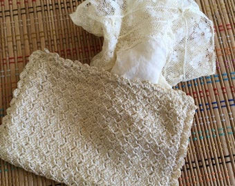 Vintage Cream Crochet Coin Purse with Handmade Hankie, R