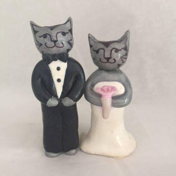 Elegant cats wedding cake topper cat wedding cake topper like this item junglespirit Choice Image
