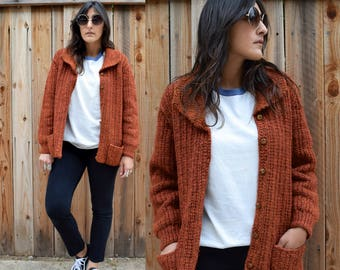 Vintage RUST Colored KNIT Sweater S M