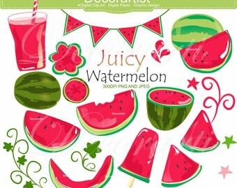 ON SALE Watermelon Clip Art _ Juicy Red Watermelon Clip Art, Melon Clip Art, small commercial printable!